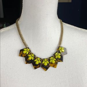 J. Crew Tortoise Shell & Chartreuse Gem Necklace
